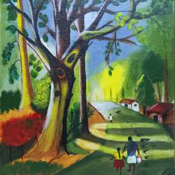 peaceful village road, 10 x 12 inch, manoj mule,10x12inch,canvas board,paintings,nature paintings | scenery paintings,paintings for dining room,acrylic color,GAL02624137762