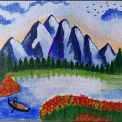 in lap of nature, 12 x 10 inch, manoj mule,12x10inch,canvas board,paintings,nature paintings | scenery paintings,paintings for living room,acrylic color,GAL02624137764