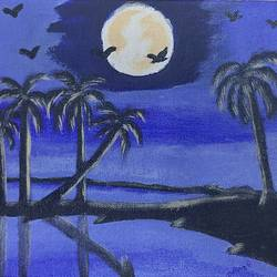 full moon night, 10 x 8 inch, manoj mule,10x8inch,canvas board,paintings,nature paintings | scenery paintings,paintings for dining room,paintings for bedroom,acrylic color,GAL02624137765