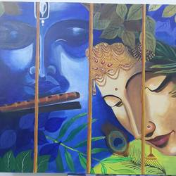 radha krishna, 30 x 24 inch, manoj mule,30x24inch,canvas board,paintings,radha krishna paintings,paintings for living room,paintings for office,acrylic color,GAL02624137770