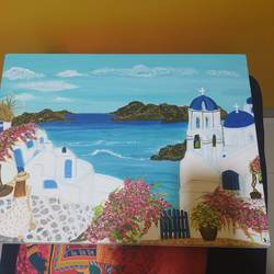 greece santorini, 15 x 22 inch, sushama arts,15x22inch,canvas,paintings,landscape paintings,acrylic color,GAL02622137773