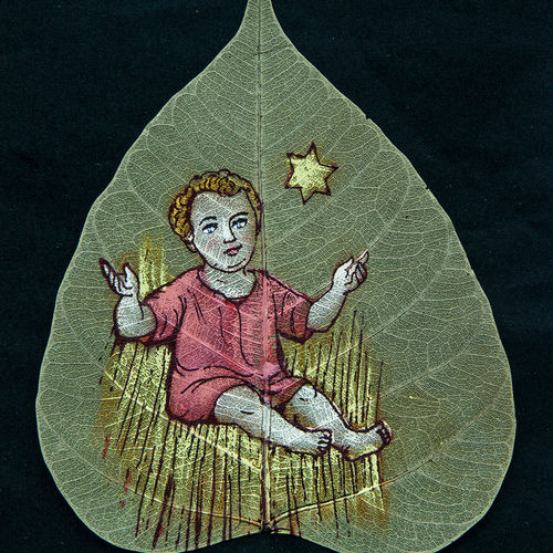 child on leaf, 7 x 9 inch, gaurav jain,figurative paintings,paintings for living room,leaf,poster color,7x9inch,GAL013673778