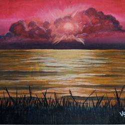 sunset landscape paiting, 16 x 12 inch, vimal dhale,16x12inch,canvas board,paintings,landscape paintings,paintings for dining room,paintings for living room,paintings for bedroom,paintings for office,acrylic color,GAL02624837781