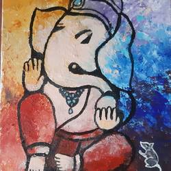 ganapathi ji, 6 x 8 inch, prabha  panth,6x8inch,hardboard,paintings,religious paintings,ganesha paintings | lord ganesh paintings,paintings for dining room,paintings for living room,paintings for office,acrylic color,GAL0390737785