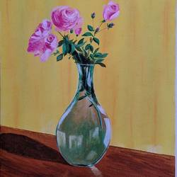rose flower pot, 12 x 16 inch, vimal dhale,12x16inch,canvas board,paintings,flower paintings,paintings for dining room,paintings for living room,paintings for bedroom,paintings for office,acrylic color,GAL02624837792