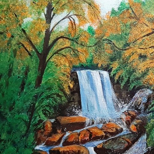 waterfall, 16 x 14 inch, prabha  panth,16x14inch,hardboard,paintings,landscape paintings,nature paintings | scenery paintings,paintings for dining room,paintings for living room,paintings for office,paintings for hospital,acrylic color,GAL0390737796