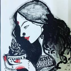 beautiful indian lady, 11 x 17 inch, sirisha  rayavarapu,11x17inch,canvas,paintings,portrait paintings,paintings for dining room,paintings for living room,paintings for bedroom,paintings for office,paintings for hotel,paintings for dining room,paintings for living room,paintings for bedroom,paintings for office,paintings for hotel,acrylic color,GAL02625037798