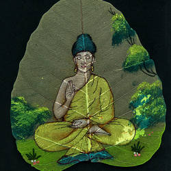 lord buddha on leaf, 7 x 9 inch, gaurav jain,buddha paintings,paintings for living room,religious paintings,paintings for office,leaf,poster color,7x9inch,GAL013673780