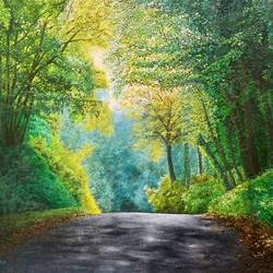 road in forest, 24 x 18 inch, pushpendra singh mandloi,24x18inch,hardboard,paintings,nature paintings | scenery paintings,photorealism,realistic paintings,paintings for dining room,paintings for living room,paintings for hotel,acrylic color,oil color,GAL0726237804