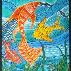 bhil inspired aquatic life, 8 x 10 inch, vijita pillai,8x10inch,canvas,paintings,folk art paintings,paintings for office,paintings for kids room,paintings for hotel,paintings for school,acrylic color,GAL0230337805