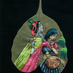radha krishna on leaf, 7 x 9 inch, gaurav jain,radha krishna paintings,paintings for bedroom,leaf,poster color,7x9inch,GAL013673781