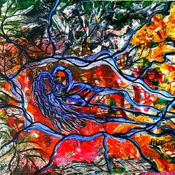 adam and eve, 22 x 14 inch, musolini rajagopal,22x14inch,thick paper,paintings,abstract paintings,acrylic color,GAL01311937824