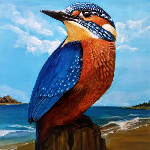 bird on the beach, 24 x 24 inch, san zac,24x24inch,canvas,paintings,wildlife paintings,landscape paintings,modern art paintings,nature paintings | scenery paintings,animal paintings,realistic paintings,paintings for dining room,paintings for living room,paintings for bedroom,paintings for office,paintings for kids room,paintings for hotel,paintings for school,acrylic color,GAL02627737846