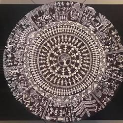 warli art - 25 x 25 inch - theme art in the form of a clock, 25 x 25 inch, priya menon,25x25inch,hardboard,paintings,art deco paintings,warli paintings,paintings for dining room,paintings for living room,paintings for bedroom,paintings for office,paintings for hotel,acrylic color,wood,GAL02555237853