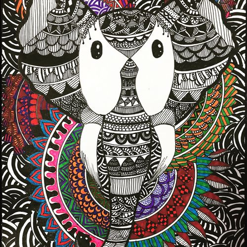 zentangle art  - elephant doodle art, 11 x 13 inch, priya menon,11x13inch,thick paper,drawings,abstract drawings,paintings for dining room,paintings for living room,paintings for bedroom,paintings for office,paintings for bathroom,paintings for kids room,paintings for hotel,paintings for kitchen,paintings for school,paintings for hospital,ink color,pen color,pencil color,ball point pen,paper,GAL02555237855