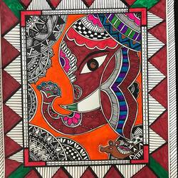 madhubani art form in pen on paper - zentangle and madhubani, 11 x 13 inch, priya menon,11x13inch,paper,drawings,art deco drawings,folk drawings,paintings for dining room,paintings for living room,paintings for bedroom,paintings for office,paintings for bathroom,paintings for kids room,paintings for hotel,paintings for kitchen,paintings for school,paintings for hospital,pen color,pencil color,ball point pen,paper,GAL02555237857