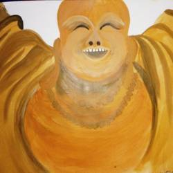 laughing buddha , 13 x 10 inch, ayushi mangal,buddha paintings,paintings for living room,thick paper,acrylic color,13x10inch,religious,peace,meditation,meditating,gautam,goutam,buddha,GAL012933786