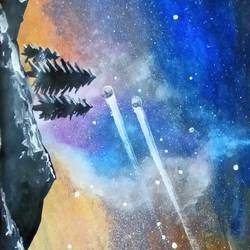 galaxy night sky, 8 x 11 inch, suhana  sabnum,8x11inch,paper,paintings,landscape paintings,nature paintings   scenery paintings,paintings for dining room,paintings for living room,paintings for bedroom,paintings for office,paintings for kids room,paintings for hotel,paintings for hospital,fine art drawings,realism drawings,paintings for dining room,paintings for living room,paintings for bedroom,paintings for office,paintings for kids room,paintings for hotel,paintings for hospital,acrylic color,paper,GAL02613537860