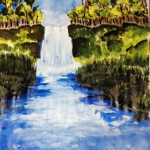 waterfall , 8 x 11 inch, suhana  sabnum,8x11inch,paper,paintings,nature paintings | scenery paintings,paintings for dining room,paintings for living room,paintings for bedroom,acrylic color,paper,GAL02613537861