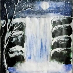 waterfall n night, 8 x 11 inch, suhana  sabnum,8x11inch,paper,landscape paintings,nature paintings | scenery paintings,paintings for dining room,paintings for living room,paintings for bedroom,paintings for office,paintings for kids room,paintings for hotel,paintings for kitchen,paintings for hospital,paintings for dining room,paintings for living room,paintings for bedroom,paintings for office,paintings for kids room,paintings for hotel,paintings for kitchen,paintings for hospital,acrylic color,paper,GAL02613537862