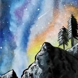 beauty of galaxy , 8 x 11 inch, suhana  sabnum,8x11inch,paper,paintings,landscape paintings,nature paintings | scenery paintings,paintings for dining room,paintings for living room,paintings for bedroom,paintings for office,paintings for kids room,paintings for hotel,paintings for kitchen,paintings for hospital,acrylic color,paper,GAL02613537863