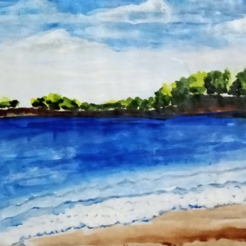 beauty of sea beach, 8 x 11 inch, suhana  sabnum,8x11inch,paper,landscape paintings,nature paintings | scenery paintings,paintings for dining room,paintings for living room,paintings for bedroom,paintings for office,paintings for bathroom,paintings for hotel,paintings for dining room,paintings for living room,paintings for bedroom,paintings for office,paintings for bathroom,paintings for hotel,acrylic color,paper,GAL02613537864