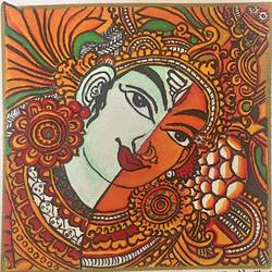 kerala mural painting - ardhanareeshwaran - wooden framed, 8 x 8 inch, priya menon,8x8inch,canvas,paintings,art deco paintings,kerala murals painting,paintings for dining room,paintings for living room,paintings for bedroom,paintings for office,paintings for kids room,paintings for hotel,paintings for kitchen,paintings for school,paintings for hospital,acrylic color,wood,GAL02555237865