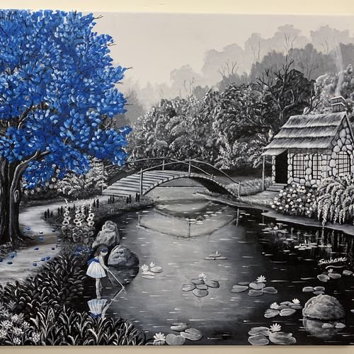 stone cabin by stream, 24 x 20 inch, sushama arts,24x20inch,canvas,paintings,landscape paintings,nature paintings | scenery paintings,realistic paintings,paintings for dining room,paintings for living room,paintings for bedroom,paintings for office,paintings for kids room,paintings for hotel,paintings for school,paintings for hospital,acrylic color,GAL02622137866