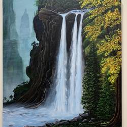 untouched waterfall , 20 x 24 inch, sushama arts,20x24inch,canvas,paintings,landscape paintings,nature paintings | scenery paintings,realistic paintings,paintings for dining room,paintings for living room,paintings for bedroom,paintings for office,paintings for kids room,paintings for hotel,paintings for school,paintings for hospital,acrylic color,GAL02622137867