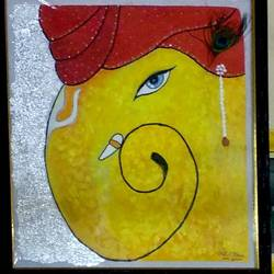 lord ganesha, 19 x 21 inch, sujit tikone,19x21inch,hardboard,ganesha paintings | lord ganesh paintings,poster color,GAL02630737868