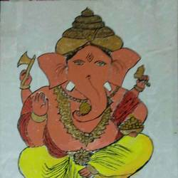 lord ganesha, 20 x 29 inch, sujit tikone,20x29inch,hardboard,ganesha paintings | lord ganesh paintings,poster color,paper,GAL02630737869