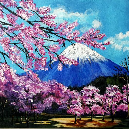 cherry blossom against mt. fuji painting , 20 x 16 inch, prasanth aby thomas,20x16inch,canvas,paintings,flower paintings,landscape paintings,nature paintings | scenery paintings,acrylic color,GAL02613937871