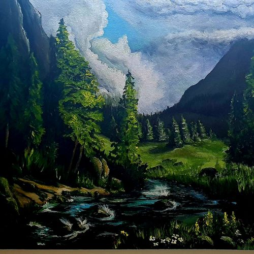 peaceful river against a mountain , 24 x 18 inch, prasanth aby thomas,24x18inch,canvas,paintings,landscape paintings,nature paintings | scenery paintings,acrylic color,GAL02613937873