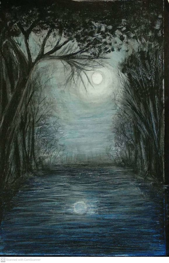 moon and river scenery, 20 x 29 inch, sujit tikone,20x29inch,hardboard,nature paintings | scenery paintings,paintings for living room,paintings for bedroom,paintings for office,paintings for hotel,paintings for living room,paintings for bedroom,paintings for office,paintings for hotel,acrylic color,pastel color,GAL02630737878