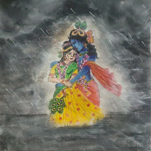 painting - radha krishna, 12 x 16 inch, manva bhadang,12x16inch,canvas,paintings,radha krishna paintings,paintings for dining room,paintings for living room,paintings for bedroom,paintings for hotel,paintings for dining room,paintings for living room,paintings for bedroom,paintings for hotel,acrylic color,graphite pencil,paper,GAL02519437887
