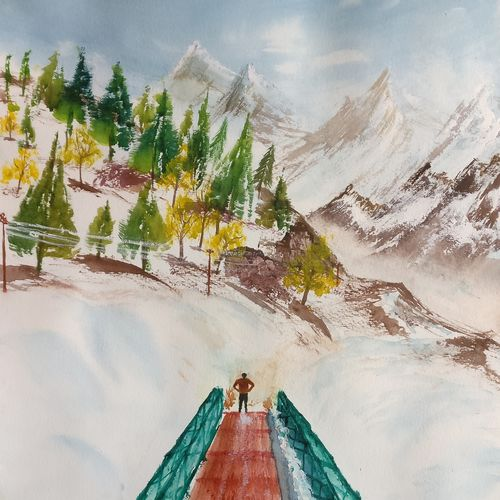 mountains and snow, 17 x 12 inch, raju singh,17x12inch,canson paper,paintings,landscape paintings,still life paintings,nature paintings | scenery paintings,paintings for dining room,paintings for living room,paintings for bedroom,paintings for office,paintings for kids room,paintings for hotel,paintings for kitchen,paintings for school,paintings for hospital,watercolor,GAL02410037892