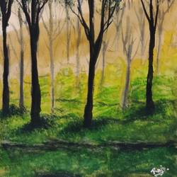 misty tea garden, 17 x 12 inch, raju singh,17x12inch,canson paper,paintings,landscape paintings,still life paintings,nature paintings | scenery paintings,paintings for dining room,paintings for living room,paintings for bedroom,paintings for office,paintings for kids room,paintings for hotel,paintings for kitchen,paintings for school,paintings for hospital,watercolor,GAL02410037894