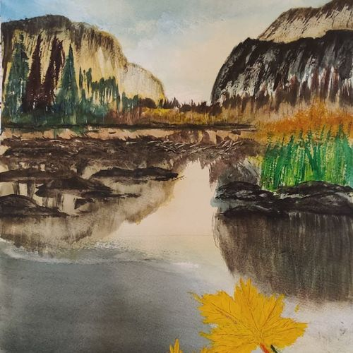 mountains and leaf, 17 x 12 inch, raju singh,17x12inch,canson paper,paintings,landscape paintings,still life paintings,nature paintings | scenery paintings,paintings for dining room,paintings for living room,paintings for bedroom,paintings for office,paintings for kids room,paintings for hotel,paintings for kitchen,paintings for school,paintings for hospital,watercolor,GAL02410037895