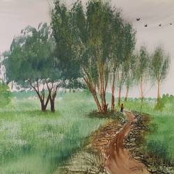 fields in a village, 24 x 18 inch, raju singh,24x18inch,canson paper,paintings,landscape paintings,still life paintings,nature paintings | scenery paintings,paintings for dining room,paintings for living room,paintings for bedroom,paintings for office,paintings for kids room,paintings for hotel,paintings for kitchen,paintings for school,paintings for hospital,watercolor,GAL02410037896