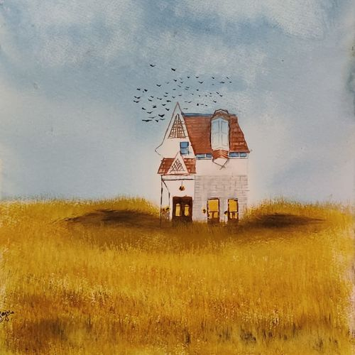 farmhouse in open field, 17 x 12 inch, raju singh,17x12inch,canson paper,paintings,landscape paintings,still life paintings,nature paintings | scenery paintings,paintings for dining room,paintings for living room,paintings for bedroom,paintings for office,paintings for kids room,paintings for hotel,paintings for kitchen,paintings for school,paintings for hospital,watercolor,GAL02410037897
