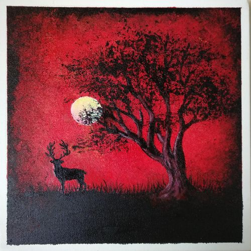 red & black landscape, 12 x 12 inch, vinay jadhav,12x12inch,canvas,paintings,abstract paintings,wildlife paintings,nature paintings | scenery paintings,art deco paintings,paintings for living room,paintings for bedroom,paintings for office,paintings for kids room,paintings for hotel,paintings for school,paintings for hospital,acrylic color,GAL02634037899