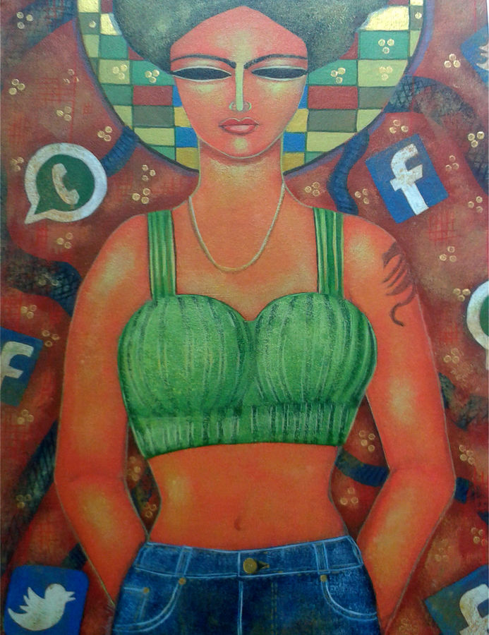 call girl, 20 x 24 inch, arindam chakraborty,figurative paintings,paintings for living room,canvas,acrylic color,20x24inch,GAL0165379