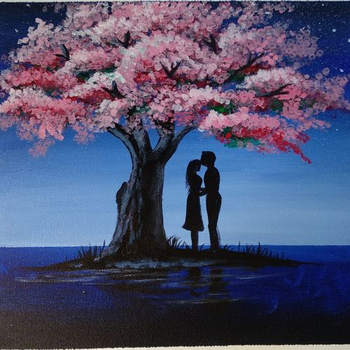 couple under a tree, 12 x 12 inch, vinay jadhav,12x12inch,canvas,paintings,landscape paintings,love paintings,paintings for dining room,paintings for living room,paintings for bedroom,paintings for office,paintings for bathroom,paintings for hotel,paintings for kitchen,paintings for hospital,acrylic color,GAL02634037900