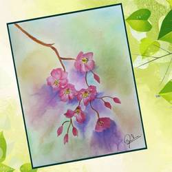 beautiful flowers, 11 x 6 inch, sarra zakir,11x6inch,paper,flower paintings,modern art paintings,pencil color,watercolor,paper,GAL02180337901