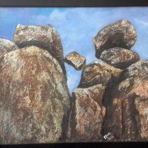 deccan rocks, 16 x 22 inch, prabha  panth,16x22inch,hardboard,paintings,landscape paintings,nature paintings | scenery paintings,paintings for dining room,paintings for living room,paintings for office,acrylic color,GAL0390737905