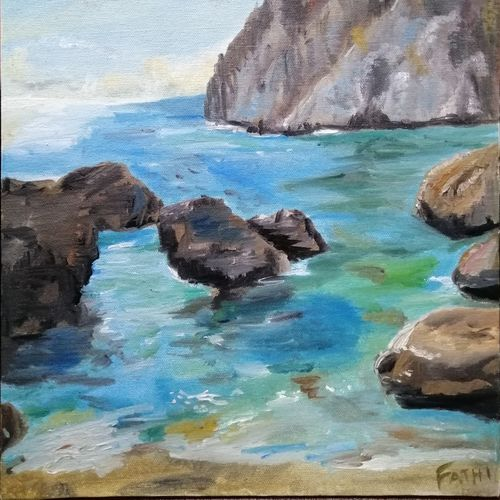 cliff view in ocean , 12 x 16 inch, fathima m,12x16inch,canvas board,paintings,nature paintings | scenery paintings,paintings for living room,paintings for living room,oil color,GAL02593137906