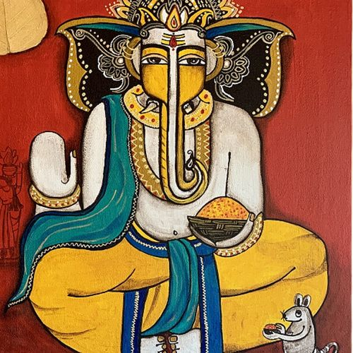 ganesha bhakti [dna4], 36 x 24 inch, nandini verma,36x24inch,canvas,religious paintings,paintings for living room,paintings for office,paintings for kids room,paintings for hotel,paintings for school,paintings for hospital,paintings for living room,paintings for office,paintings for kids room,paintings for hotel,paintings for school,paintings for hospital,acrylic color,GAL0273737907
