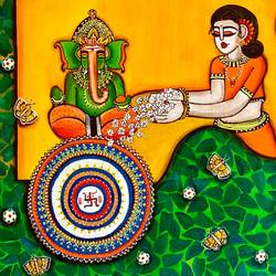 ganesha bhakti [dna 5], 36 x 24 inch, nandini verma,36x24inch,canvas,paintings,religious paintings,paintings for dining room,paintings for living room,paintings for office,paintings for kids room,paintings for hotel,paintings for school,paintings for hospital,acrylic color,GAL0273737909