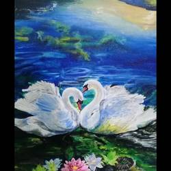 swans, 16 x 20 inch, ananya parida,16x20inch,canvas board,paintings,wildlife paintings,landscape paintings,paintings for dining room,paintings for living room,paintings for bedroom,paintings for office,paintings for hotel,acrylic color,GAL02517337910