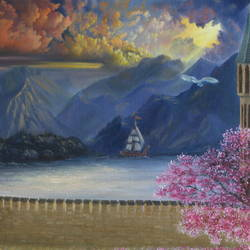 castle in mountains, 24 x 18 inch, goutami mishra,24x18inch,canvas,paintings,wildlife paintings,flower paintings,cityscape paintings,landscape paintings,nature paintings | scenery paintings,impressionist paintings,photorealism paintings,photorealism,animal paintings,contemporary paintings,realistic paintings,water fountain paintings,children paintings,kids paintings,paintings for living room,paintings for bedroom,paintings for kids room,paintings for hotel,paintings for school,oil color,GAL046537912